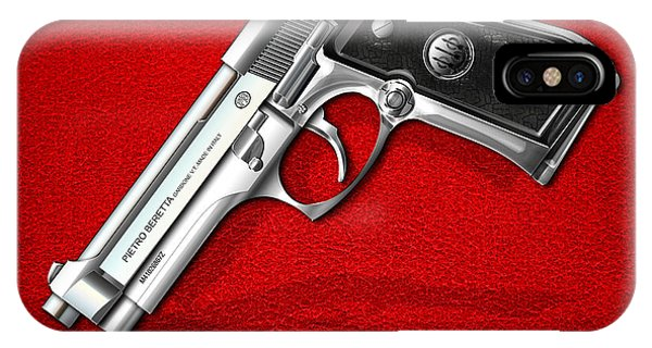 Vintage iPhone Case - Beretta 92fs Inox Over Red Leather  by Serge Averbukh