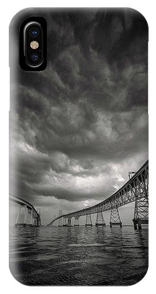 Chesapeake Bay iPhone X Case - Between The Bridge by Robert Fawcett