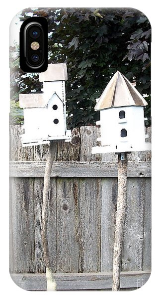 2 Bird Houses And A Fence IPhone Case