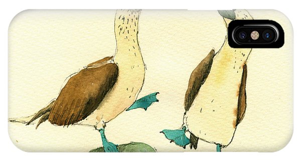 Bird Watercolor iPhone Case - Blue Footed Boobies by Juan  Bosco