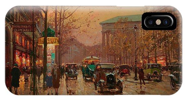 Trolley Car iPhone Case - Boulevard De La Madeleine by Edouard Henri Leon Cortes