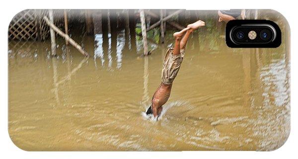 2 Cambodian Boys Dive Color IPhone Case