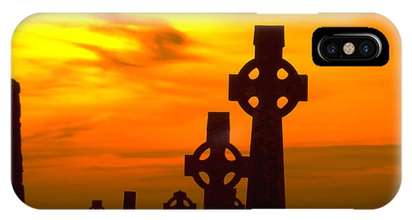 Celtic Crosses In Sunset Phone Case by Carl Purcell