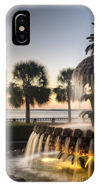 Pineapple iPhone Case - Charleston Pineapple Fountain Sunrise by Dustin K Ryan