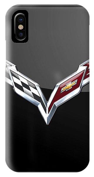 Autos iPhone Case - Chevrolet Corvette 3d Badge On Black by Serge Averbukh