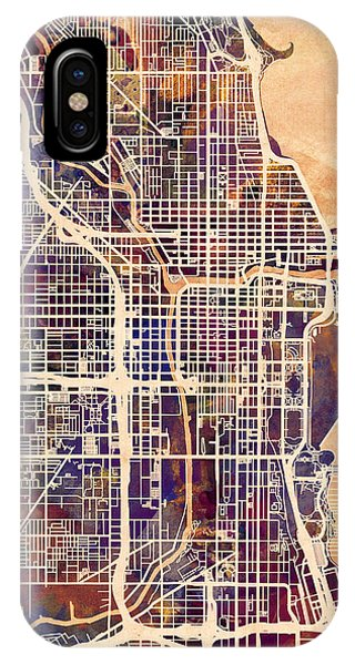 University Of Illinois iPhone Case - Chicago City Street Map by Michael Tompsett