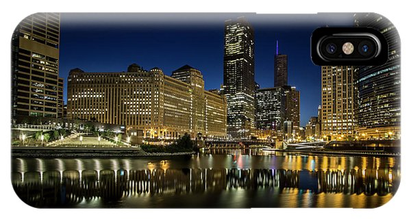 Chicago River And Skyline At Dawn IPhone Case