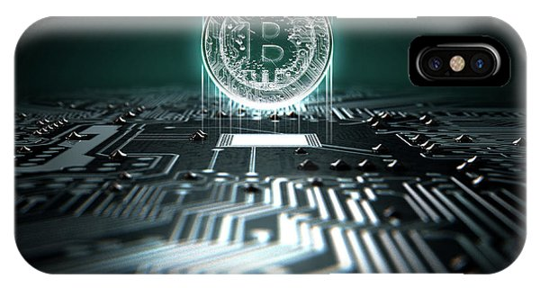 Virtual iPhone Case - Circuit Board Projecting Bitcoin by Allan Swart