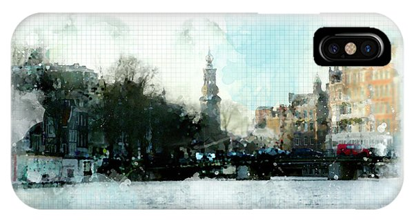 IPhone Case featuring the digital art City Life In Watercolor Style by Ariadna De Raadt