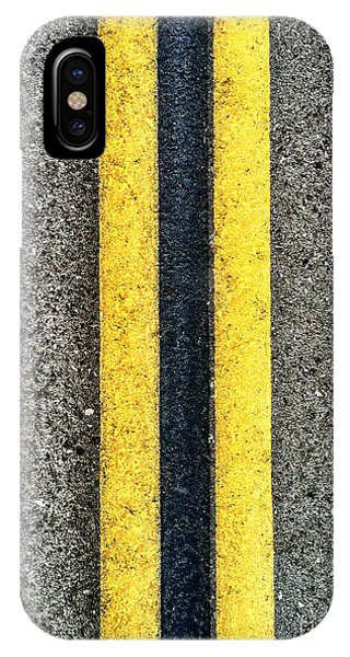 IPhone Case featuring the photograph Double Yellow Road Lines by Bryan Mullennix