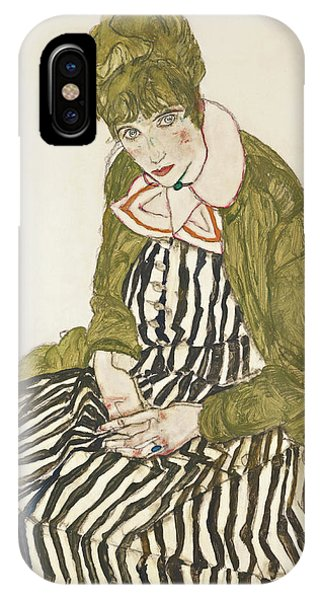 Edith With Striped Dress, Sitting IPhone Case