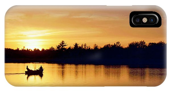 Fishermen On A Lake At Sunset IPhone Case