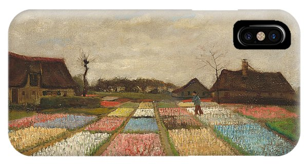 White Tulip iPhone Case - Flower Beds In Holland by Vincent Van Gogh