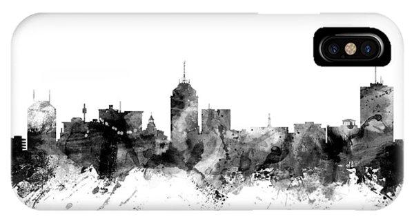 Fresno Silhouette iPhone Case - Fresno California Skyline by Michael Tompsett