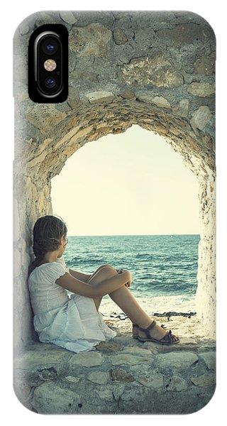 Stone Wall iPhone Case - Girl At The Sea by Joana Kruse