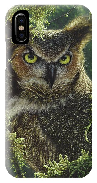 Great Horned Owl - Watching And Waiting IPhone Case