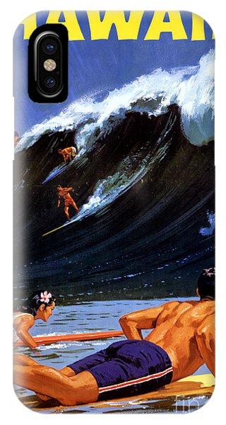 Hawaii Vintage Travel Poster Restored IPhone Case