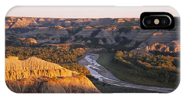 North Dakota Badlands iPhone Case - High Angle View Of A River Passing by Panoramic Images