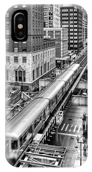 Historic Chicago El Train Black And White IPhone Case