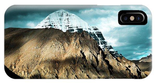 Kora iPhone Case - Holy Kailas East Slop Himalayas Tibet Yantra.lv by Raimond Klavins