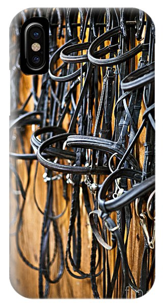 Horse Bridles Hanging In Stable IPhone Case