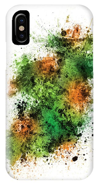 Irish iPhone Case - Ireland Map Paint Splashes by Michael Tompsett