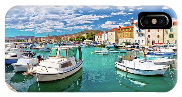 Kastel Novi Turquoise Harbor And Historic Architecture Panoramic IPhone Case