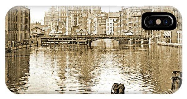 Kilbourn Avenue Bridge, Milwaukee River, C.1915, Vintage Photogr IPhone Case