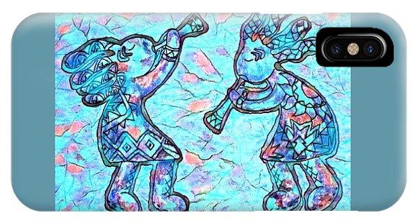 2 Kokopellis In Turquoise IPhone Case