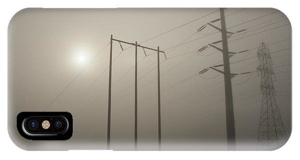 Large Transmission Towers In Fog IPhone Case