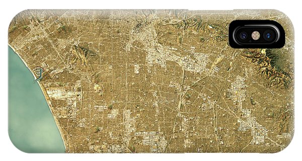 Los Angeles Topographic Map Natural Color Top View IPhone Case