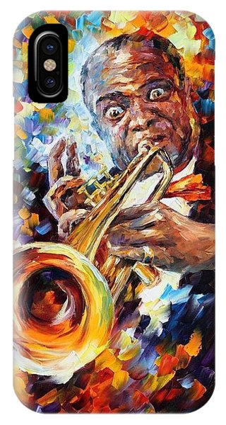 Afremov iPhone X Case - Louis Armstrong . by Leonid Afremov