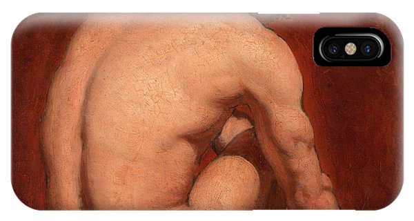 Lgbt iPhone Case - Male Nude, Kneeling, From The Back by William Etty
