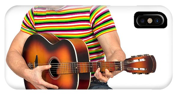 Gay Pride Flag iPhone Case - Man Playing The Guitar by Boyan Dimitrov