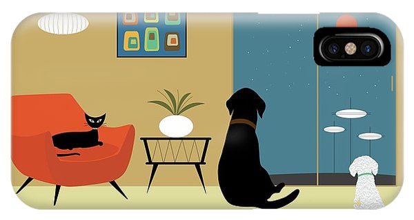 IPhone Case featuring the digital art Mid Century Modern Animals by Donna Mibus