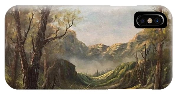 Misty Valley Phone Case by Paintings by Justin Wozniak