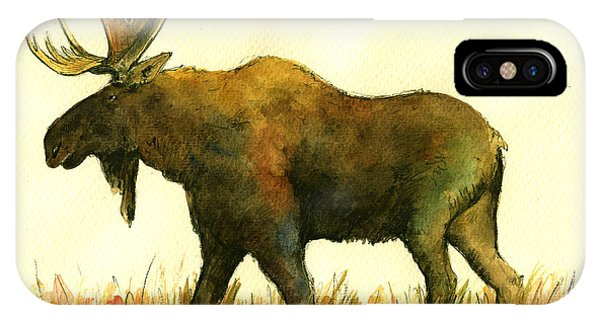 Bull Art iPhone Case - Moose by Juan  Bosco