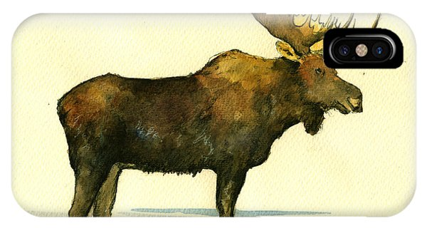Bull Art iPhone Case - Moose Watercolor Painting. by Juan  Bosco