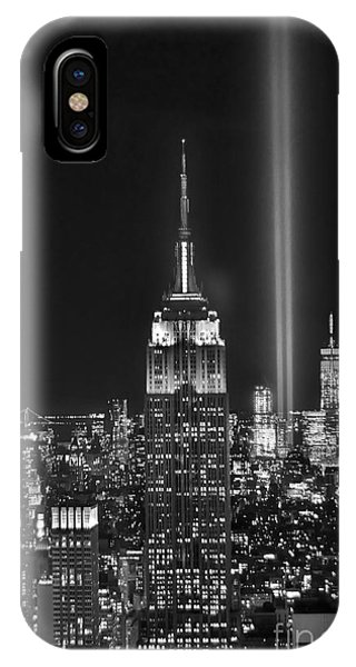 Cities iPhone Case - New York City Tribute In Lights Empire State Building Manhattan At Night Nyc by Jon Holiday