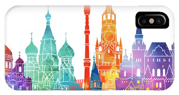 Moscow Skyline iPhone Case - Paris Landmarks Watercolor Poster by Pablo Romero