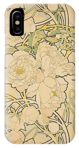 Flowers iPhone Case - Peonies by Alphonse Mucha