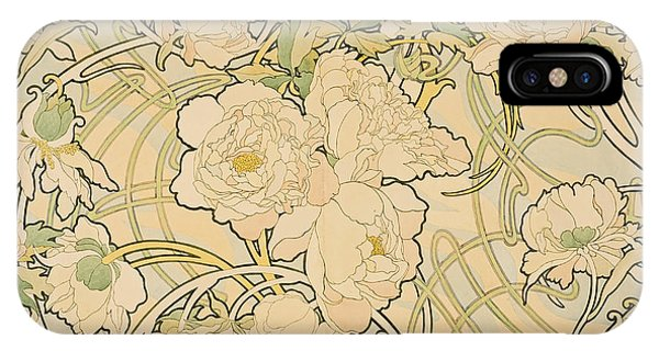 Floral iPhone X Case - Peonies by Alphonse Mucha