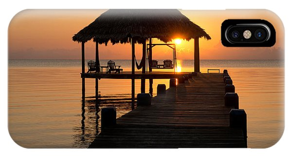 Maya iPhone Case - Pier With Palapa On Caribbean Sea by Panoramic Images