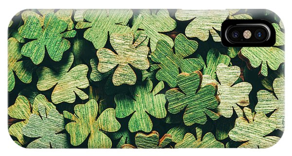 St. Patricks Day iPhone Case - Pile Of Wooden Green Four-leaf Clovers by Michal Bednarek