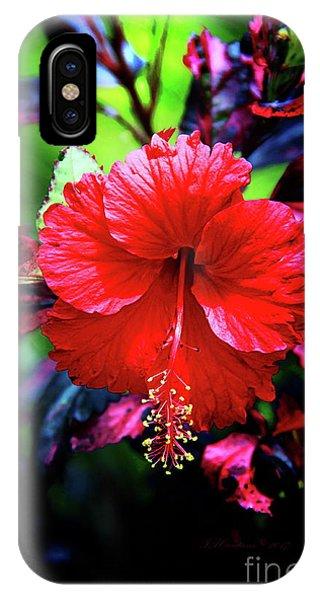 Red Hibiscus 2 IPhone Case