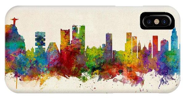 Brazil iPhone X Case - Rio De Janeiro Skyline Brazil by Michael Tompsett