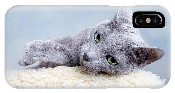 Russia iPhone Case - Russian Blue Cat by Nailia Schwarz