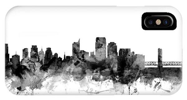 Sacramento iPhone X Case - Sacramento California Skyline by Michael Tompsett