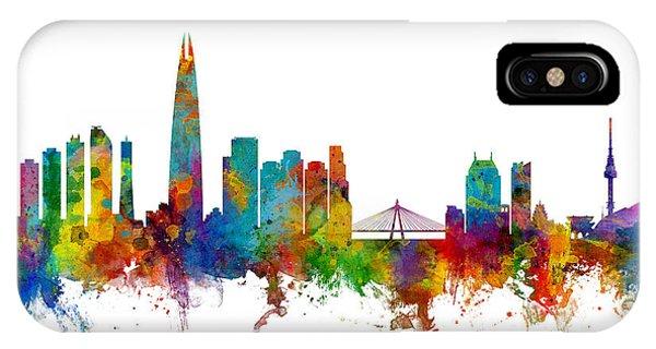 Michael iPhone Case - Seoul Skyline South Korea by Michael Tompsett