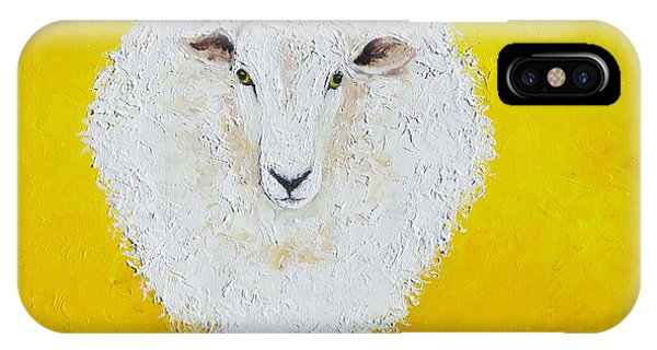 Sheep Painting On Yellow Background IPhone Case